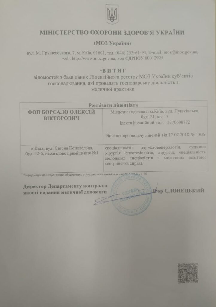 Лицензия МОЗ Coolaser Clinic Фото
